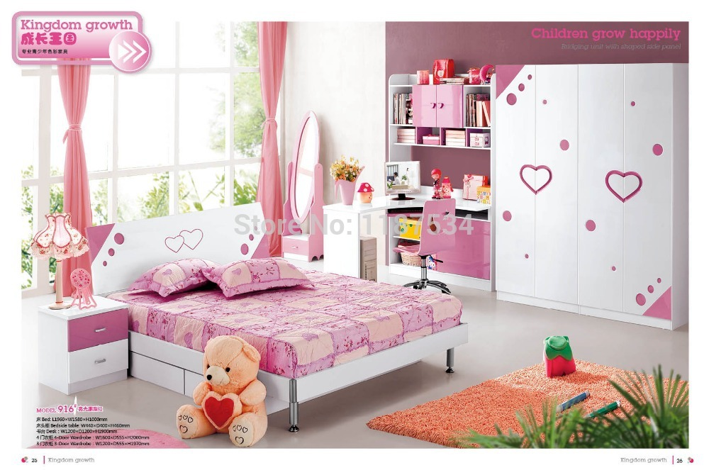 916# Modern style children bedroom set furniture wooden bedroom ...
