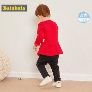 Image 3 - Balabala תינוקת 2 חתיכה מרופד פרווה תרמית 3D באני סווטשירט שמלה + למשוך על מכנסיים סט חורף תינוקות יילוד תינוק בגדים