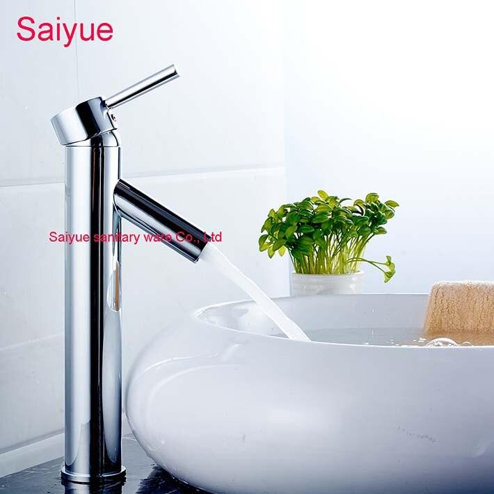 Élégant moderne pas d'éclaboussure grande Base ronde poignée unique cascade salle de bains évier robinet Chrome finition pour lavabo mitigeur
