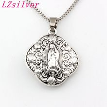 10pcs Antique silver Virgin Mary religion Alloy Charms Pendant Necklaces travel protection Pendants 23.6inches Chains