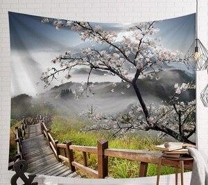 Image 5 - Tapiz de escena de CAMMITEVER, tapiz de tela impresa, manta de pared fácil de limpiar, decoración del hogar, Lago de Fog Woods