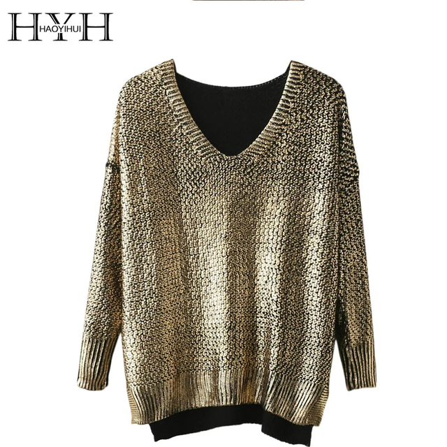 HYH HAOYIHUI Women Sweaters Autumn Elegant Casual Slim Pullover V-neck Long Sleeve High Low Solid Gold Split Knitted Pullover