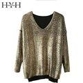 Haoyihui hyh mulheres camisolas outono casual e elegante fino pullover de decote em v manga comprida alta baixa ouro dividir sólida pulôver de malha