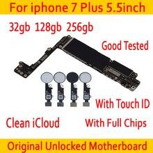 Бесплатная iCloud для Apple iphone 7 Plus 5,5 дюймовая материнская плата с сенсорным ID/без сенсорного ID, оригинальная разблокированная материнская плата для iphone 7 Plus