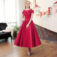 TS Couture A Line Jewel Neck Tea Length Satin Tulle Mikado Rehearsal Dinner / Cocktail Party / Prom Dress with Bandage