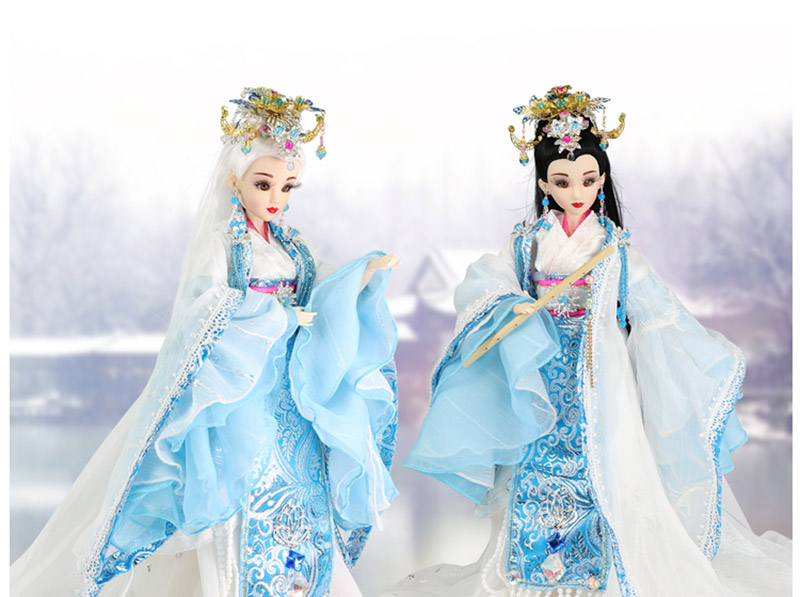 35CM Collectible Ancient Chinese Dolls Traditional The Four Beauties - Diao Chan Doll With White/Black Hair Girl Toys Gifts