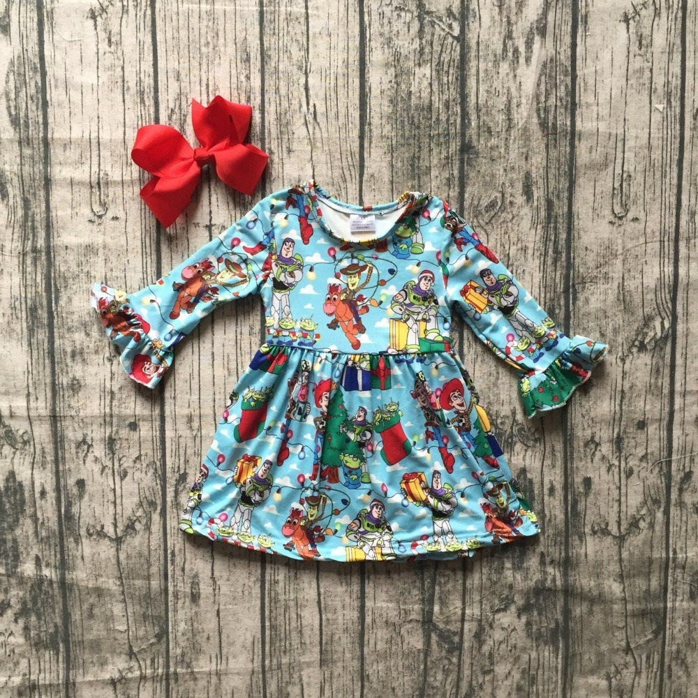new milk silk Carton girls children clothes baby Fall/Winter long sleeve ruffle dresse blue party dress kids wear with bows