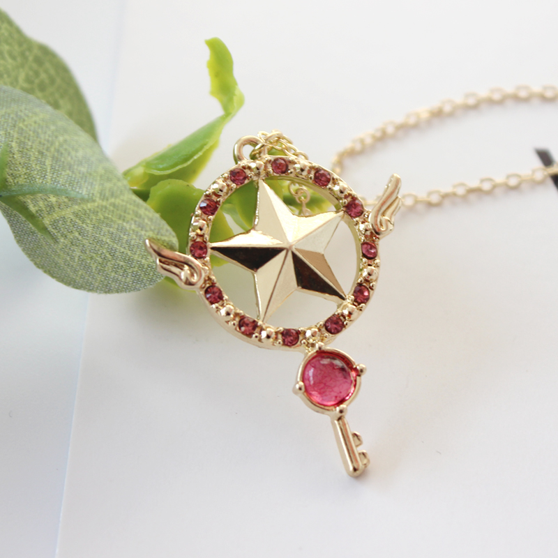 Anime Card Captor Sakura The Clow Magic Star Wand Metal Crystal Cosplay Pendant Necklace