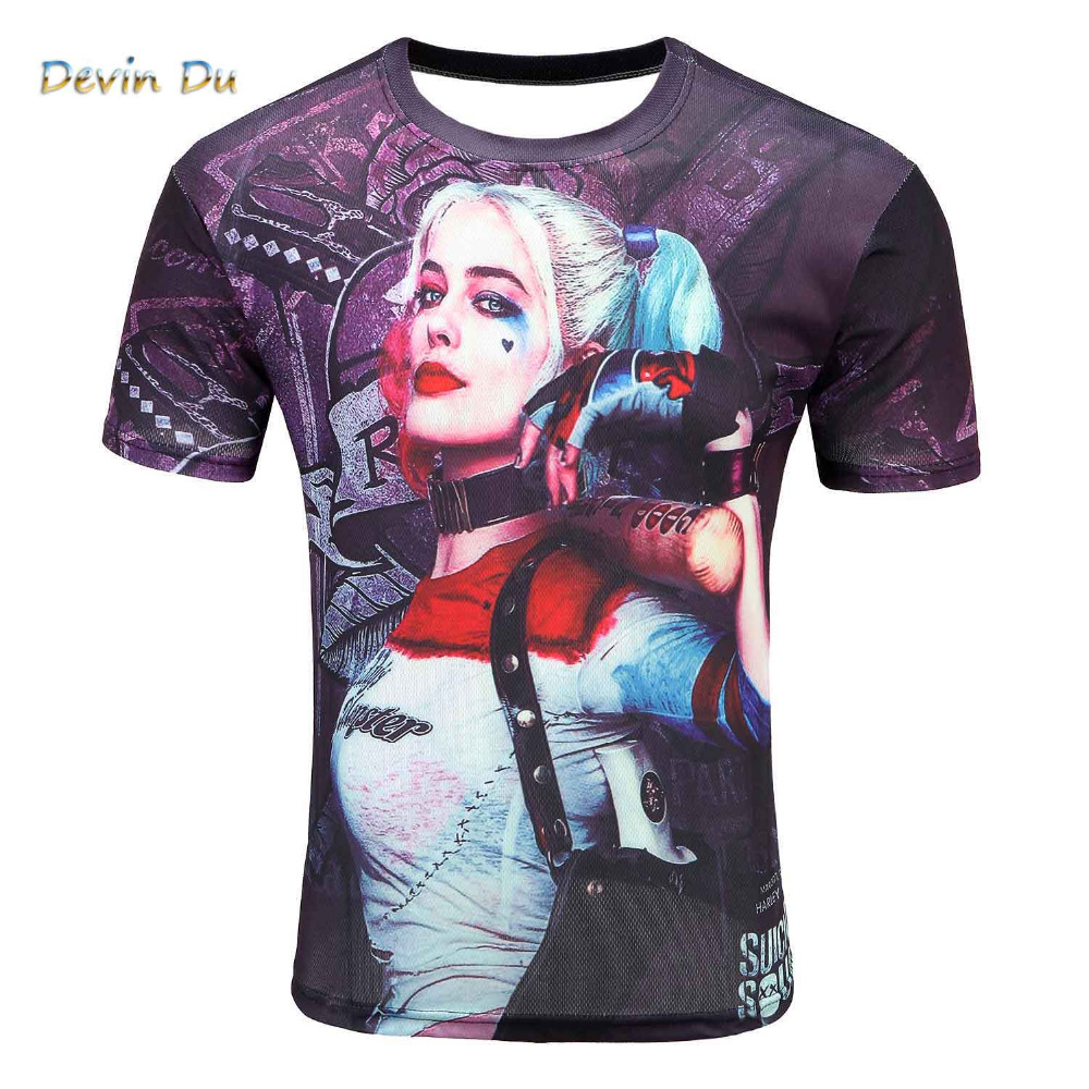 Men's Short Sleeve Polyester O-Neck   T  -  Shirt   Punk 3D Print Suicide squad   T     shirt   Men   t     shirt   M-4XL 2017 New Fashion top tees