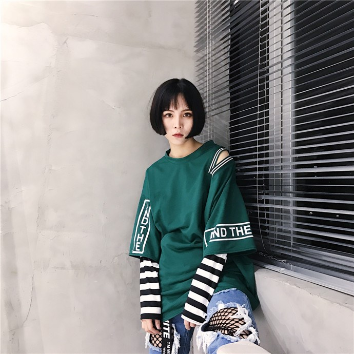 29ec9c3170 Aliexpress.com : Buy 2018 Spring Autumn Women Letter Print T shirt Striped  Patchwork Tee Top Stylish Long Sleeved Off Shoulder T shirts Femme from  Reliable ...