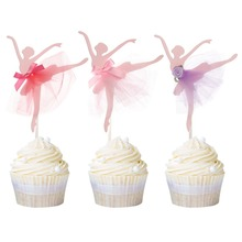 5pcs Ballerina Birthday Cupcake Topper Dancing Girl Wedding Party Cake Toppers Supplies Free Shipping