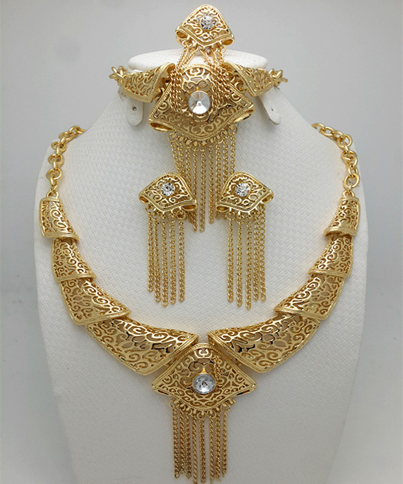 Gold Color Nigerian Wedding African Beads Jewelry Set