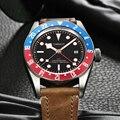 Мужские автоматические механические часы Corgeut  армейские спортивные часы Schwarz Bay GMT  кожаные механические наручные часы для плавания