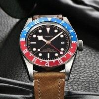Corgeut יוקרה מותג שוורץ מפרץ GMT גברים אוטומטי מכאני שעון צבאי ספורט לשחות שעון עור מכאני יד שעונים
