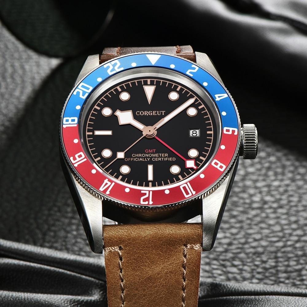 Corgeut Luxury Brand  Schwarz Bay GMT Men Automatic Mechanical Watch Military Sport Swim Clock Leather Mechanical Wrist Watches