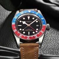 Corgeut di Lusso di Marca Schwarz Bay GMT orologio Da Uomo Meccanico Automatico Della Vigilanza di Sport Militare di Nuotata In Pelle Orologio Meccanico Orologi Da Polso