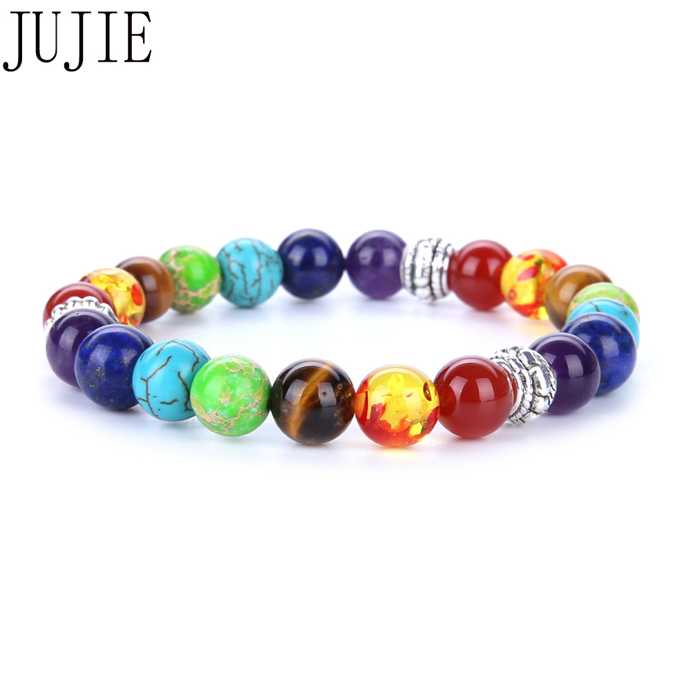 JUJIE 8mm Multicolor Natural Stone Bracelet For Women Yoga Energy Bracelet Fashion Rainbow 7 chakras Circle Jewelry Gifts Man