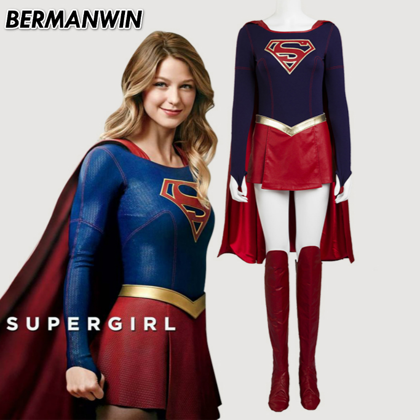 bermanwin high quality supergirl halloween costumes for adult women supergirl cosplay costume leather suit supergirl jumpsuit - Halloween Costumes Prices