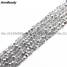 100 pcs Half Silver Color 4mm Austria Crystal Football Beads Round Loose Crafts Spacer Beads for Jewelry Making