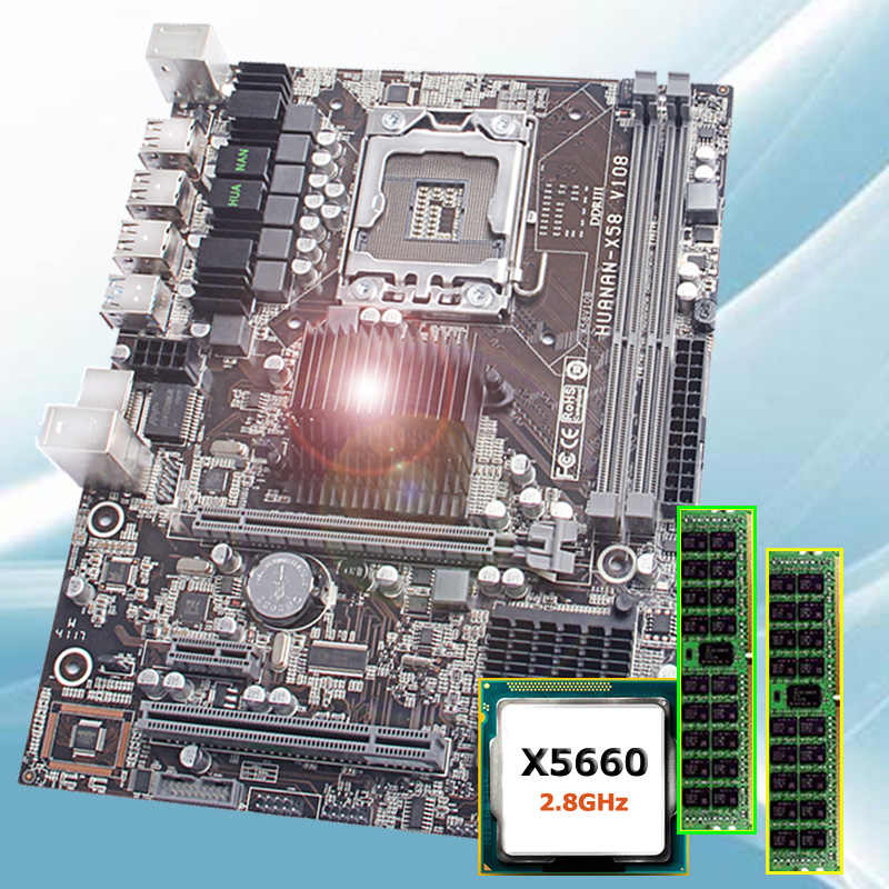 Скидка бренд материнская плата комплект huanan Zhi X58 LGA1366 материнская плата с ЦП Intel Xeon X5660 2,8 ГГц ОЗУ 8 г (2*4 г) DDR3 REG ECC