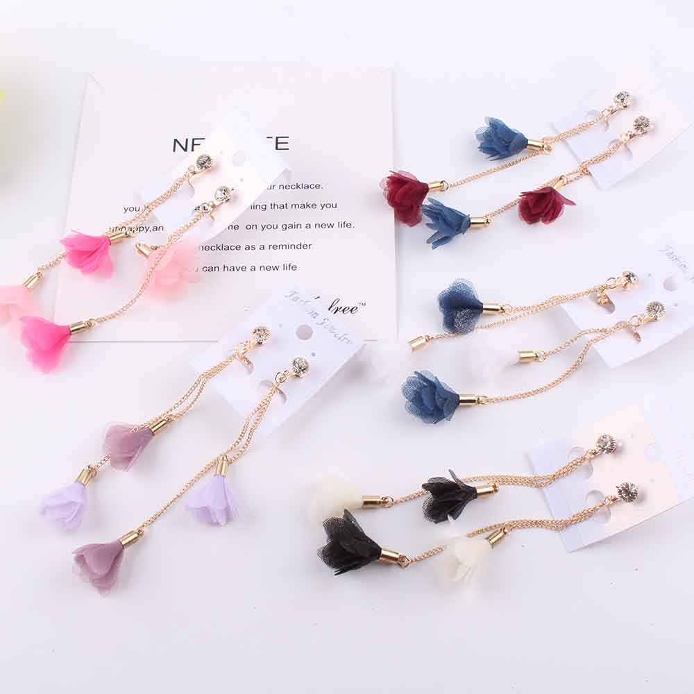 Long Flower Pendant Clip on Earrings Romantic Korean Without Piercing For Women Party Charm Zircon No Hole Ear Clip jewelry