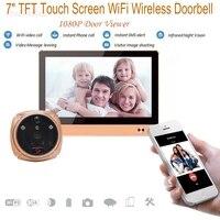 Беспроводной видео телефон двери Smart WI FI дверной глазок Интерком 7 дюймов TFT емкостный ЖК дисплей сенсорный экран
