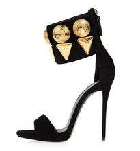 Free Ship Gold Studded High Heel Sandals Women Big Ankle Buckle Strap Thin Heels Dress Shoes Cut-out Summer Dress Shoes Big Size new arrivals 2016 brand gold leather back butterfly sandals high heel cut out metal heel prom dress shoes size 34 41free ship