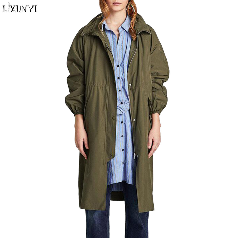 LXUNYI Ladies Trench Coat European 2018 Spring Hooded Casual Loose Women Long Trench Coats Parker Female Windbreaker Green Black
