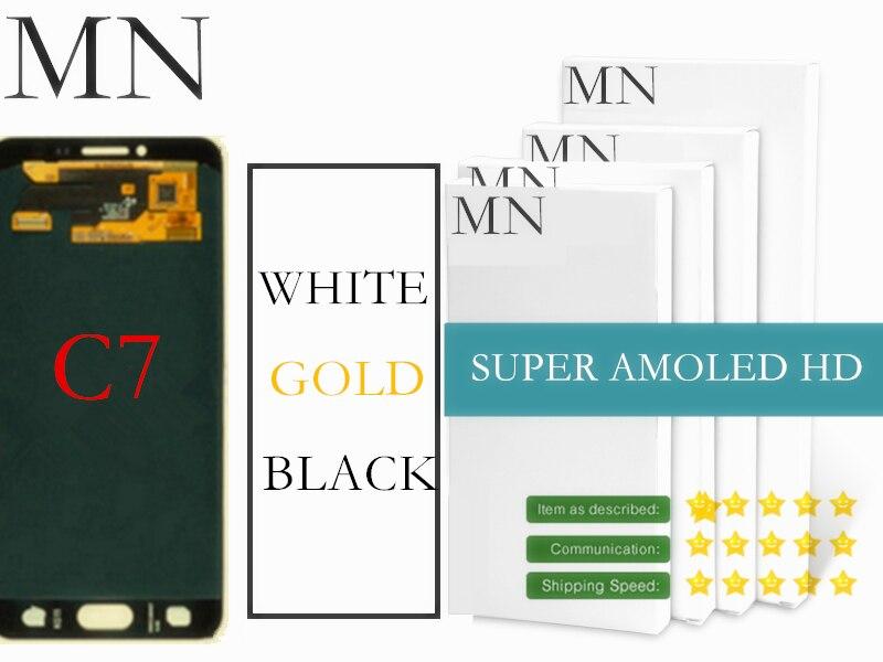 imágenes para 100% Probado Super AMOLED De Samsung Galaxy C7 C7000 Pantalla LCD + Pantalla Táctil Digitalizador Asamblea-Oro Blanco Negro