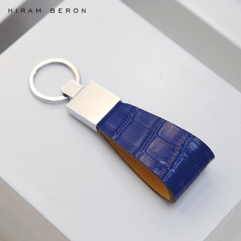 Hiram Beron titular de la clave de cuero genuino de los hombres llavero de Metal clave anillo nombre personalizado anillo inicial o en servicio de patrón de cocodrilo