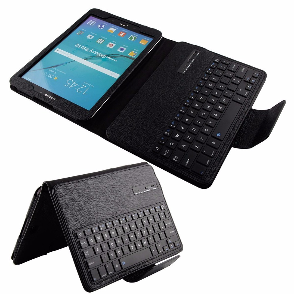Removable Wireless Bluetooth Keyboard Portfolio Leather Stand Case Cover For Samsung Galaxy Tab S2 9.7 T810 T815 T819