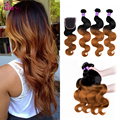 Cheap Rosa Hair Products Peruvian Virgin Hair Body Wave With Closure 8A Ombre Human Hair With Closure Blonde Bundle With Closure