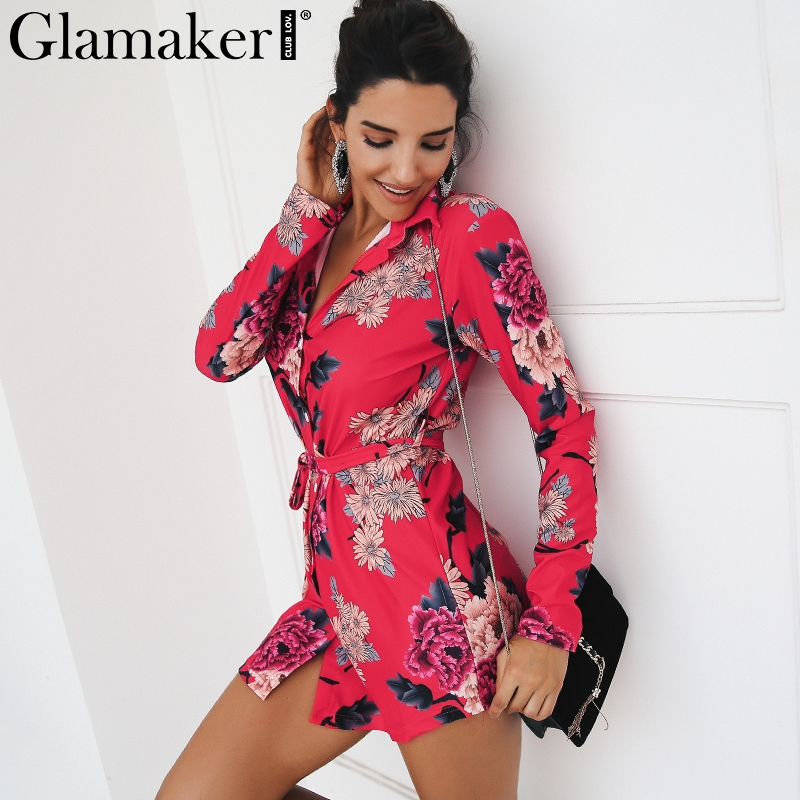 Glamaker floral Dress Glamaker Long sleeve floral sexy dress Women v neck sash belt beach autumn  dress 2018 High waist party club shirt dress vestidos