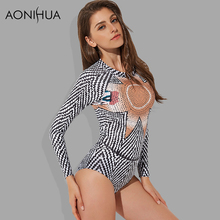 AONIHUA 2018 Geometric Striped Swimwear female Push up One Piece Swimsuits Women Back zipper Long sleeve Bathing Suit