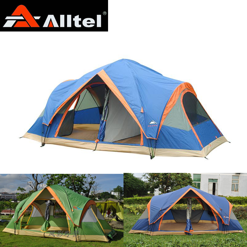 Alltel quick open Fully automatic Two room 6-8 person 2 layer anti rain wind proof  ultralarge family party outdoor camping tent new arrival fully automatic two hall 6 8 person double layer camping tent against big rain large family outdoor tent 190cm high