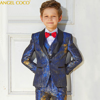 Blazers Boys Suits For Weddings Luxury Formal Party Suits Evening Child Communion Big Size Teenagers 5 Pieces Costume Garcon