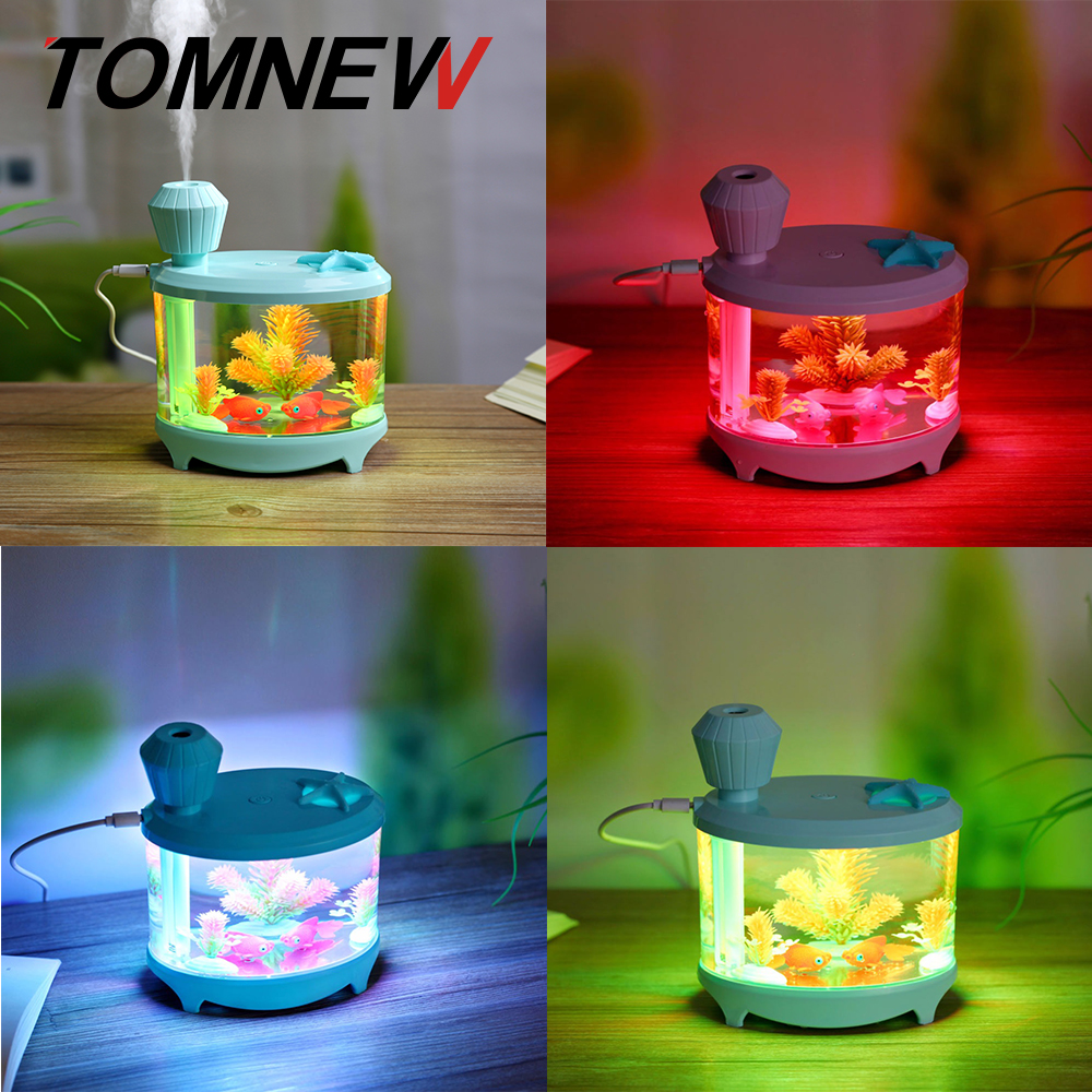 TOMNEW 460ML Mini Cool Mist Humidifier USB Ultrasonic Cartoon Cute Air Cleanser Diffuser with LED Night Light for Home Office