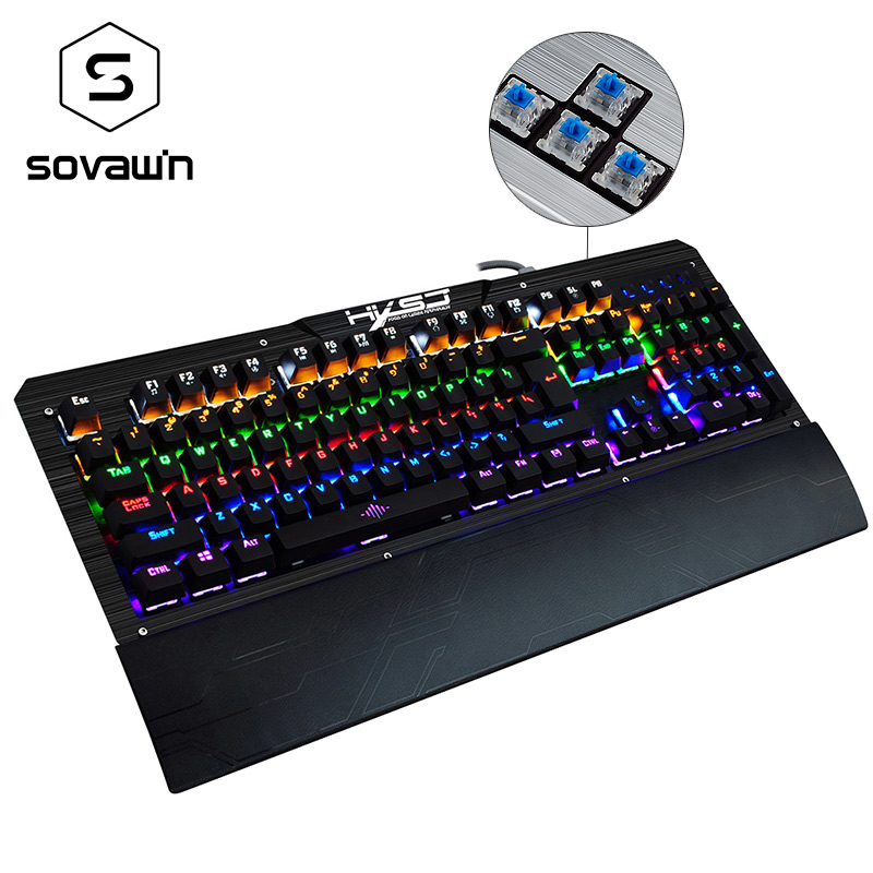 Sovawin Wrist Rest Metal 104 Keys 10 LED backlight models Blue Switch Mechanical Keyboard Gamer Wired PC Gaming Keyboard RGB professional 29 keys programmable mechanical usb wired one hand gaming keyboard rgb led backlit backlight for pro gamer