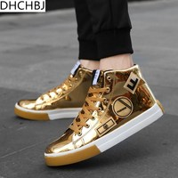 fashion Hip Hop shoes Men 2018 spring fashion sneakers gold high tops Male black Vulcanized shoes lace up daily flats hombres