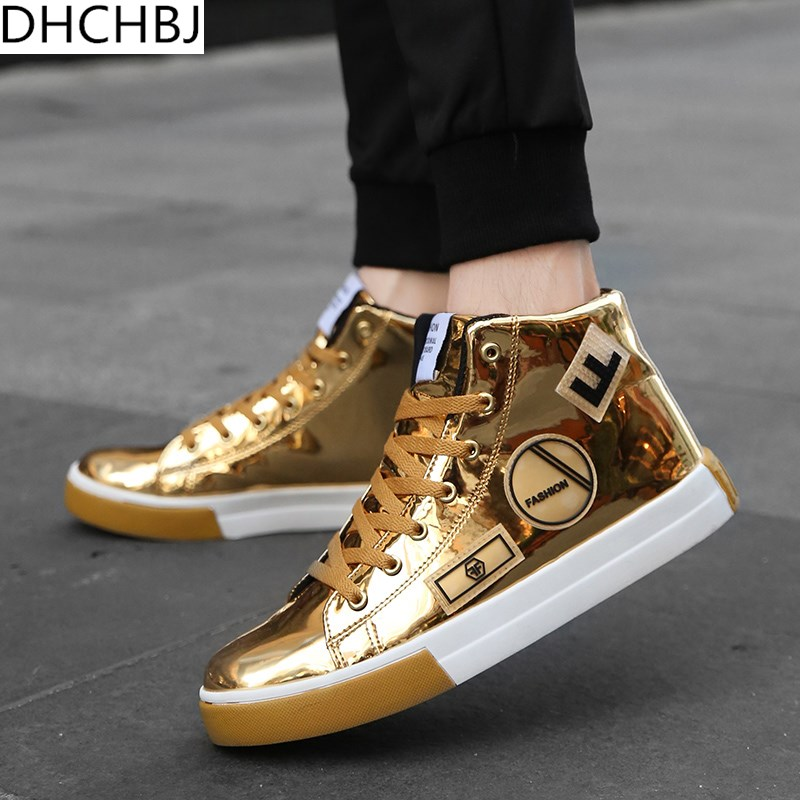 Fashion Hip Hop Shoes Men 2019 Spring Fashion Sneakers Gold High Tops Male Black Vulcanized Shoes Lace-up Daily Flats Hombres