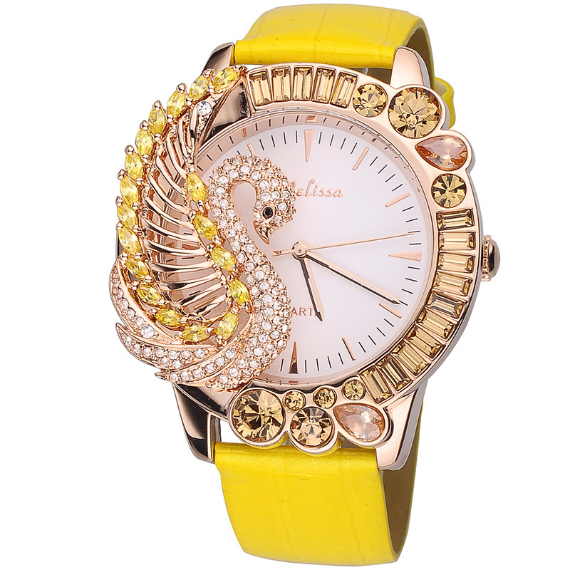 Luxury Colorful Rhinestones Swan Watches Quartz Vogue Girls Exaggerated 3D Anamal Watch Real Leather Relogio Feminino F11402Luxury Colorful Rhinestones Swan Watches Quartz Vogue Girls Exaggerated 3D Anamal Watch Real Leather Relogio Feminino F11402