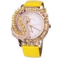 Luxus Bunte Strass Swan Uhren Quarz Vogue Mädchen Übertrieben 3D Anamal Uhr Echt Leder Relogio Feminino F11402-in Damenuhren aus Uhren bei