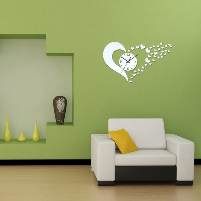 Wall Clock Sticker Home Decor Living Room 3D Acrylic Mirror Heart Shape Clocks  Decals DIY Modern