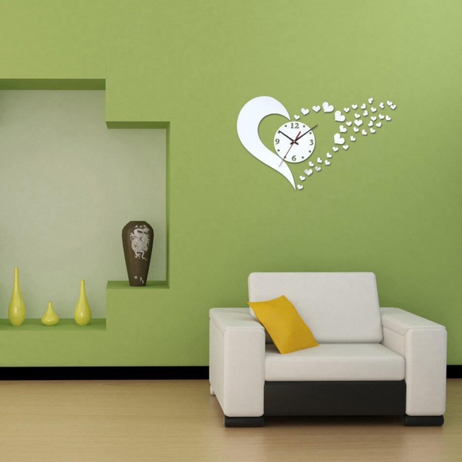 online get cheap acrylic mirror shapes aliexpress com alibaba group wall clock sticker home decor living room 3d acrylic mirror heart shape clocks decals diy modern silver vinyl accessories mural