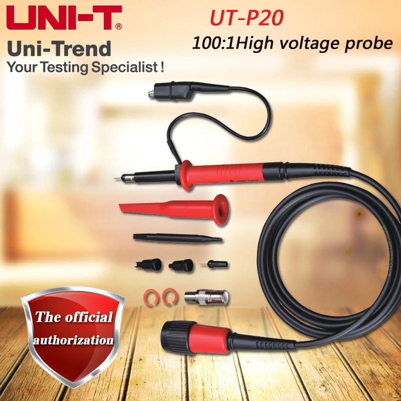 UNI-T UT-P20 100: 1 High voltage probe, Oscilloscope High Pressure Probe 250MHz 1500V p4100 high voltage oscilloscope probe 2kv 100 1 100 mhz alligator clip measuring tip