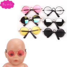 43 cm baby dolls glasses fashion round sunglasses colorful lenses American born accessories Baby toys fit 18 inch Girls doll q1 doll accessories heart shaped round glasses suit for blythe doll glasses for american girl dolls sunglasses