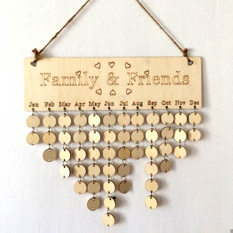 KICUTE DIY Wooden Birthday Wall Calendar Family Friends Special Dates Celebration Sign Board Home Hanging Decor Christmas Gifts