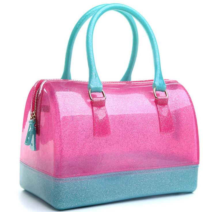 цена на Quality Silica gel Women bag 2016 new candy-colored transparent jelly bag crystal handbag fashion hit color wild sweet casual