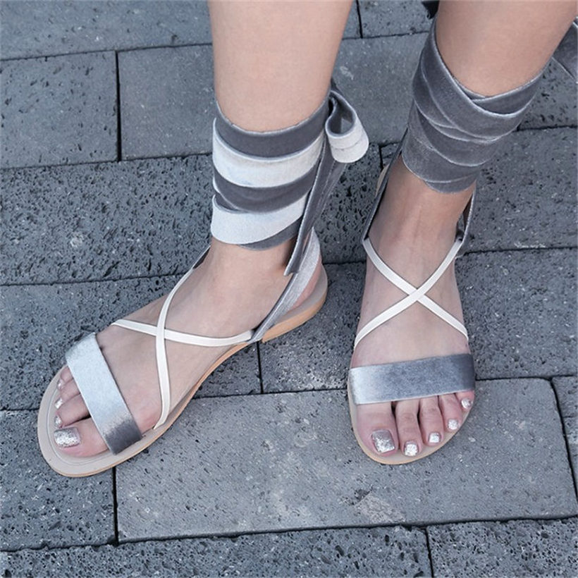 9ca705c32ff22 NAYIDUYUN 2018 New Women Velvet Lace Up Strappy Roman Gladiator Sandals  Open Toe Low Heel Party Oxfords Summer Casual Shoes-in Low Heels from Shoes  on ...