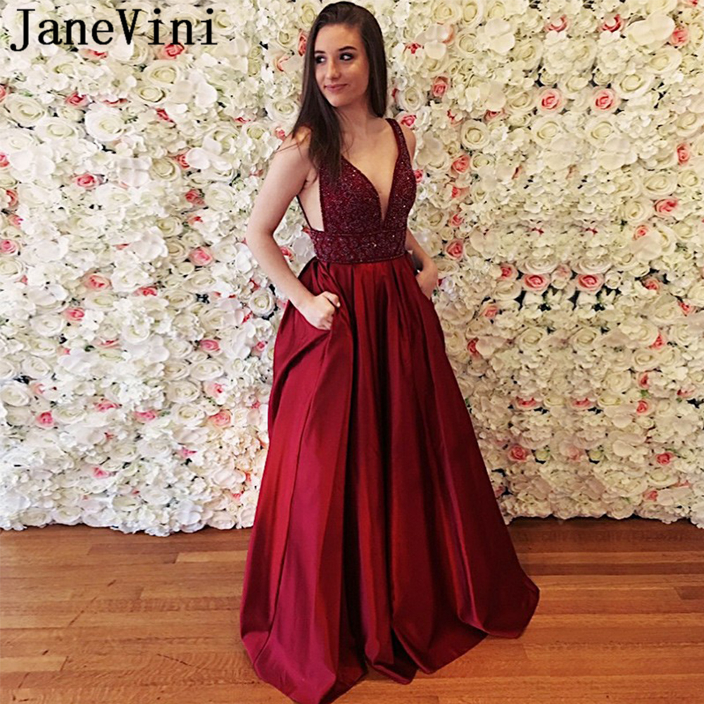 JaneVini Elegant Long Burgundy   Prom     Dress   with Pockets Deep V Neck Sparkle Beaded Backless A Line Satin   Dresses   Vestidos De Gala
